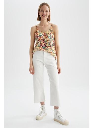DeFacto Tropik Desenli Kare Yaka Ayarlanabilir Askılı Relax Fit Bluz Pembe